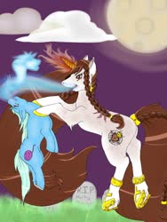 Size: 960x1280 | Tagged: safe, alternate version, artist:-censored-, oc, oc only, oc:sacred heart, pony, unicorn, braid, cloud, duo, female, frog (hoof), full moon, glowing horn, gravestone, hoof shoes, horn, mare, moon, night, soul vore, textless, underhoof, unicorn oc, vore
