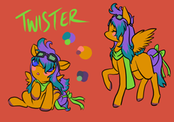 Size: 1000x700 | Tagged: safe, artist:lavvythejackalope, oc, oc only, oc:twister, pegasus, pony, :o, baby, baby pony, blush sticker, blushing, bow, clothes, colored hooves, duo, eyes closed, goggles, open mouth, pegasus oc, raised hoof, reference sheet, scarf, simple background, sitting, tail bow, text, underhoof, wide eyes, wings