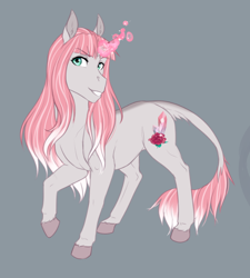 Size: 700x779   Tagged: safe, artist:askbubblelee, oc, oc only, oc:rosie quartz, pony, unicorn, curved horn, digital art, female, glowing horn, horn, leonine tail, mare, simple background, solo