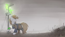 Size: 1400x800   Tagged: safe, artist:flysouldragon, oc, oc only, oc:littlepip, oc:pyrelight, balefire phoenix, phoenix, pony, unicorn, fallout equestria, bag, bandage, clothes, duo, fanfic, fanfic art, female, fog, hooves, horn, looking back, mare, pipbuck, raised hoof, saddle bag, vault suit, wasteland, ych result