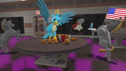 Size: 1280x720 | Tagged: safe, artist:horsesplease, gallus, 3d, carnivore, chicken meat, flag, food, fried chicken, gallus the rooster, giddyup buttercup, gmod, kfc, meat, united states