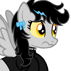 Size: 500x500 | Tagged: safe, artist:toyminator900, oc, oc only, oc:lightning dee, pegasus, pony, bow, choker, clothes, colored sclera, dyed mane, female, mare, shirt, simple background, solo, spiked choker, spread wings, transparent background, wavy mouth, wings