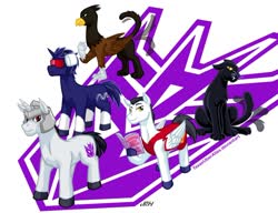 Size: 1024x787 | Tagged: safe, artist:texasuberalles, big cat, griffon, jaguar (animal), pegasus, pony, unicorn, book, colored hooves, crossover, decepticon, fanfic art, griffonized, headphones, helmet, hoof hold, laserbeak, looking at you, looking back, male, megatron, ponified, ravage, reading, simple background, soundwave, species swap, stallion, starscream, sunglasses, transformers, white background