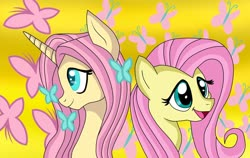 Size: 1124x710 | Tagged: safe, artist:xxmoniquetheartsxx, fluttershy, butterfly, pegasus, pony, unicorn, leak, spoiler:g5, duality, female, fluttershy (g5), g4, g4 to g5, g5, generational ponidox, mare, redesign, simple background, smiling, unicorn fluttershy