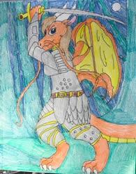 Size: 1280x1645   Tagged: safe, oc, oc:kaida, anthro, dragon, ponyfinder, dragonborn, dungeons and dragons, female, mlp dungeons and dragons, pen and paper rpg, rpg, solo