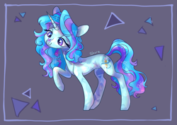 Size: 4093x2894 | Tagged: safe, artist:shore2020, oc, oc only, oc:winter doodle, crystal pony, pony, unicorn, crystal unicorn, female, high res, horn, looking at something, mare, solo