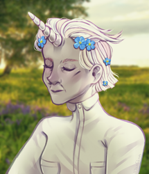 Size: 2185x2545 | Tagged: safe, artist:djkaskan, zesty gourmand, human, female, flower, flower in hair, horn, horned humanization, humanized, pony coloring