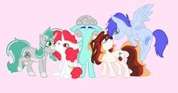 Size: 2048x1075   Tagged: safe, artist:cloudberry mess, oc, oc only, oc:blue resonance, oc:minty, oc:patch, oc:scarlet serenade, oc:silver bullet, earth pony, pegasus, pony, unicorn, cheek squish, cutie mark, female, flying, group, group hug, hug, male, mare, squishy cheeks, stallion, wings