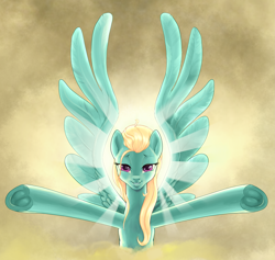 Size: 4185x3968 | Tagged: safe, artist:pencils, zephyr breeze, pegasus, pony, alternate hairstyle, arms wide open, backlighting, crepuscular rays, frog (hoof), lidded eyes, looking at you, loose hair, male, solo, stallion, trap, underhoof