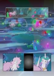 Size: 752x1063   Tagged: safe, artist:jeremy3, artist:lummh, princess celestia, alicorn, pony, comic:celestia's destiny, cave, cavern, comic, crystal, female, filly, filly celestia, foal, future, glowing gems, past, pink-mane celestia, reflection, swimming pool, water, young celestia, younger