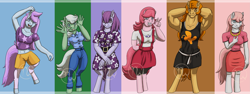 Size: 4799x1800 | Tagged: safe, artist:azurllinate, blossom, blue belle, butterscotch (g1), minty, minty (g1), snuzzle, anthro, earth pony, 1980's, accessories, arm behind head, armpits, baggy shirt, big breasts, blossom (g1), blue eyes, breasts, butterscotch, chubby, chubby cheeks, clothes, dress, dress shirt, earth pony only, excited, female, first generation, fist pump, freckles, g1, happy, having fun, jewelry, leggings, long mane, long tail, looking at you, more like boulderscotch, muscles, necklace, orange eyes, original six, pink mane, purple eyes, shorts, size difference, skirt, strong, tongue out