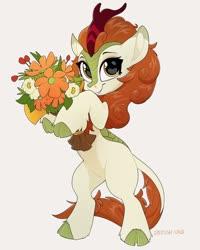 Size: 864x1080 | Tagged: safe, artist:zazush-una, autumn blaze, kirin, awwtumn blaze, bipedal, bouquet, cute, female, flower, leonine tail, simple background, solo, white background
