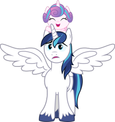 Size: 2578x2733 | Tagged: artist needed, safe, artist:cloudyglow, edit, editor:slayerbvc, vector edit, princess flurry heart, shining armor, alicorn, pony, alicornified, baby, baby pony, cute, father and child, father and daughter, female, filly, flurrybetes, foal, male, ponies riding ponies, race swap, riding, shining adorable, shiningcorn, simple background, spread wings, stallion, transparent background, unshorn fetlocks, vector, wings