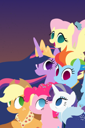 Size: 1016x1524 | Tagged: safe, artist:thunder-blur, applejack, fluttershy, pinkie pie, rainbow dash, rarity, twilight sparkle, alicorn, earth pony, pegasus, pony, unicorn, the last problem, spoiler:s09e26, cowboy hat, female, gradient background, hat, lineless, mane six, mare, no pupils, older, older applejack, older fluttershy, older mane 6, older mane six, older pinkie pie, older rainbow dash, older rarity, older twilight, princess twilight 2.0, simple background, twilight sparkle (alicorn), wallpaper
