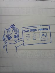 Size: 3120x4160 | Tagged: safe, diamond tiara, earth pony, pony, dewey defeats truman, female, filly, lined paper, monochrome, newspaper, parody, traditional art