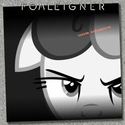 Size: 1024x1024 | Tagged: safe, artist:cheezedoodle96, artist:grapefruitface1, bon bon, sweetie drops, earth pony, pony, album cover, close-up, foreigner, monochrome, neo noir, partial color, ponified, ponified album cover, solo