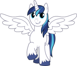 Size: 2578x2204 | Tagged: safe, edit, vector edit, shining armor, alicorn, pony, alicornified, cute, grin, joy, looking at you, male, outstretched wings, prince shining armor, race swap, raised hoof, shining adorable, shiningcorn, simple background, smiling, solo, stallion, transparent background, unshorn fetlocks, vector, wings