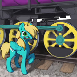 Size: 2000x2000 | Tagged: safe, artist:redruin01, oc, oc only, oc:steam cloud, pegasus, commission, cute, female, locomotive, mare, mouth hold, posing for photo, railroad, solo, steam engine, steam train, train, wrench