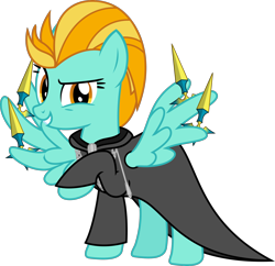 Size: 1990x1924 | Tagged: safe, artist:sketchmcreations, lightning dust, pegasus, clothes, coat, female, kingdom hearts, knife, larxene, looking at you, mare, nobody, organization xiii, raised hoof, simple background, smiling, transparent background, vector, weapon, wing hands, wings