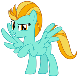 Size: 2013x2000   Tagged: safe, artist:sketchmcreations, lightning dust, pegasus, pony, female, looking at you, mare, raised hoof, simple background, smiling, solo, transparent background, vector, wings