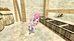 Size: 1024x575 | Tagged: safe, artist:undeadponysoldier, pinkie pie, pony, 3d, barn, barrel, crossover, female, gmod, jar, mare, milk, romani ranch, solo, stable, the legend of zelda, the legend of zelda: majora's mask