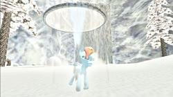 Size: 1024x575 | Tagged: safe, artist:undeadponysoldier, rainbow dash, pegasus, pony, 3d, crossover, female, frozen, gmod, ice, majora's mask, mare, mountain village, scared, snow, the legend of zelda, winter