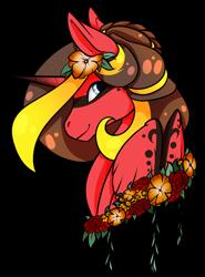Size: 1024x1384 | Tagged: safe, artist:oneiria-fylakas, oc, oc:oneiria fylakas, alicorn, pony, bust, female, flower, mare, portrait, simple background, solo, transparent background