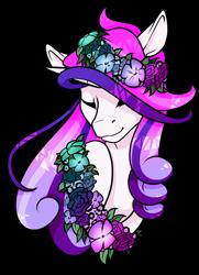 Size: 1024x1414 | Tagged: safe, artist:oneiria-fylakas, oc, oc only, oc:shiny heart, pony, unicorn, bust, eyes closed, female, floral head wreath, flower, mare, portrait, simple background, solo, transparent background