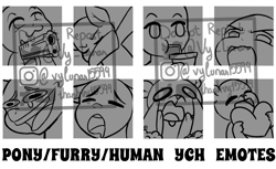 Size: 1550x950   Tagged: safe, artist:thanhvy15599, human, pony, commission, dab, emotes, furry, watermark, ych example, ych sketch, your character here