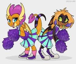 Size: 1280x1066   Tagged: safe, artist:zazush-una, smolder, oc, oc:zazush, dragon, cheerleader, cheerleader outfit, cheerleader smolder, clothes, dragon oc, duo, female, intertwined tails, pom pom, simple background, tail