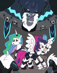 Size: 2562x3264   Tagged: safe, artist:supahdonarudo, princess celestia, queen novo, storm king, alicorn, classical hippogriff, hippogriff, yeti, fanfic:revenge of the storm king, my little pony: the movie, arena, armor, banner, bust, cheering, cloud, cover, cover art, dark clouds, disembodied head, fanfic art, gladiator, grin, lightning, smiling, storm guard, storm king's emblem, story included, synopsis