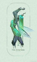 Size: 1080x1796 | Tagged: safe, artist:animesoul, queen chrysalis, changeling, changeling queen, anthro, armpits, female, solo, tarot card, the empress