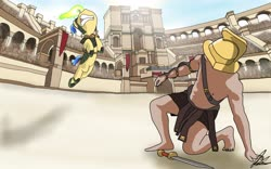 Size: 3985x2490 | Tagged: safe, artist:flaremoon, oc, oc only, oc:mercury haze, human, pony, unicorn, arena, armor, attack, cowering, crowd, death battle, duel, fantasy, fear, female, fight, gladiator, gold, guard, helmet, jumping, magic, male, mare, mythology, sand, spell, stadium, sword, weapon, zenith