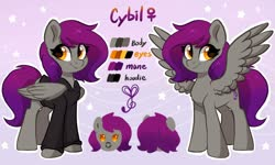 Size: 2000x1200 | Tagged: safe, artist:colorfulcolor233, oc, oc only, oc:cybil, pegasus, pony, reference sheet, solo