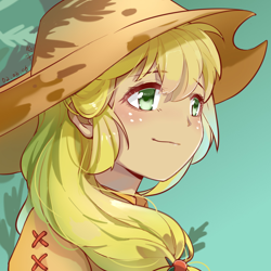 Size: 1024x1024 | Tagged: safe, artist:义臣子, applejack, human, anime, cute, female, humanized, jackabetes, simple background, solo