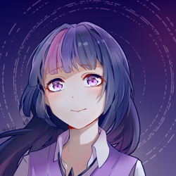 Size: 1024x1024 | Tagged: safe, artist:义臣子, twilight sparkle, human, anime, female, humanized, looking at you, solo