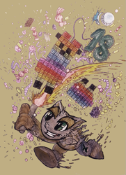 Size: 617x853 | Tagged: safe, artist:mysteriousshine, alicorn, anthro, alicornified, candy, confetti, deviantart, food, full moon, horn, moon, race swap, smiling, smirk, solo, traditional art, wings