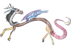 Size: 696x464 | Tagged: safe, artist:mysteriousshine, discord, draconequus, fangs, horn, looking back, male, open mouth, solo, traditional art, wings
