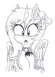 Size: 1262x1751 | Tagged: safe, artist:shinycyan, oc, oc only, oc:loliloop, pegasus, pony, chest fluff, collar, cute, fake horn, female, fluffy, grayscale, mare, monochrome, pegasus oc, solo, surprised, unshorn fetlocks, wings