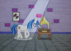Size: 1024x731 | Tagged: safe, alternate version, artist:malte279, dj pon-3, vinyl scratch, gramophone, marker, marker drawing, marker pen, markers, pickup, spotlight, traditional art