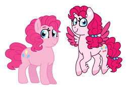 Size: 800x550 | Tagged: safe, artist:charlie03bigote, pinkie pie, earth pony, pegasus, pony, leak, spoiler:g5, colored wings, female, flying, g4, g4 to g5, g5, hooves, mare, pegasus pinkie pie, pinkie pie (g5), race swap, redesign, simple background, smiling, transparent background, wings