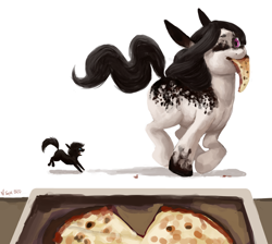 Size: 4000x3576 | Tagged: safe, artist:misstwipietwins, oc, oc:inkenel, oc:oretha, pony, angry, chase, food, galloping, micro, one eye closed, pizza, running, size difference, teasing, wink, winking at you