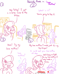 Size: 4779x6013 | Tagged: safe, artist:adorkabletwilightandfriends, lily, lily valley, spike, dragon, earth pony, pony, comic:adorkable twilight and friends, adorkable, adorkable friends, baking, behind, butt, comic, cooking, couch, cute, dork, food, humor, innocent, innuendo, kitchen, love, love muffin, muffin, plot, relationship, romance, television, tray