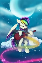 Size: 1078x1627 | Tagged: safe, artist:melodis, oc, oc only, oc:aurora harmony, pegasus, cloud, music, music notes, night, singing
