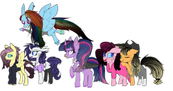 Size: 1179x624 | Tagged: safe, artist:bublebee123, artist:icey-wicey-1517, color edit, edit, applejack, fluttershy, pinkie pie, rainbow dash, rarity, twilight sparkle, alicorn, earth pony, pegasus, pony, unicorn, alternate hairstyle, anklet, chest fluff, clothes, collaboration, colored, cowboy hat, cross, curved horn, dress, ear piercing, earring, edgy, eye scar, goth, hat, hoodie, horn, jeans, jewelry, leg fluff, mane six, missing cutie mark, necklace, nose piercing, nose ring, one eye closed, open mouth, pants, piercing, ponytail, raised hoof, scar, shirt, simple background, socks, spiked wristband, stockings, thigh highs, torn clothes, transparent background, twilight sparkle (alicorn), unshorn fetlocks, wall of tags, wristband