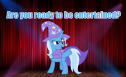 Size: 1920x1186 | Tagged: safe, edit, trixie, pony, unicorn, cape, clothes, cute, entertainment, hat, one hoof raised, spotlight, stage, talking to viewer, trixie is best pony, trixie's cape, trixie's hat