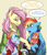 Size: 893x1031 | Tagged: safe, artist:hazurasinner, fluttershy, rainbow dash, oc, oc:harmony (hazurasinner), oc:windy belle, pegasus, pony, baby, baby pony, bandaid, dialogue, family, feathered fetlocks, female, filly, flutterdash, height difference, lesbian, magical lesbian spawn, offspring, parent:fluttershy, parent:rainbow dash, parents:flutterdash, shipping, story in the source, tongue out, winter clothes