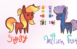Size: 1441x932 | Tagged: safe, artist:mjsw, oc, oc only, oc:jiggy, oc:william fest, earth pony, pegasus, pony, blushing, chibi, couple, cute, female, male, mare, reference sheet, stallion