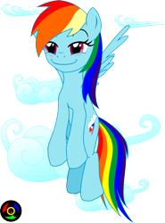 Size: 4523x6124 | Tagged: safe, artist:kyoshyu, rainbow dash, pony, cloud, flying, simple background, smiling, transparent background
