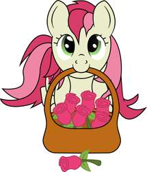 Size: 780x907 | Tagged: artist needed, safe, roseluck, pony, basket, flower, looking at you, mouth hold, rose, simple background